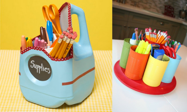 recycled-bottle School Supplies Container