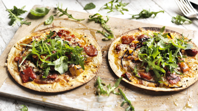 Home-made vegetarian tortillas pizza