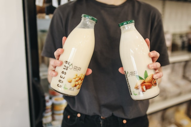 bottles with almond milk
