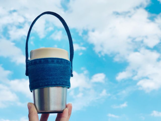 denim coffee holder