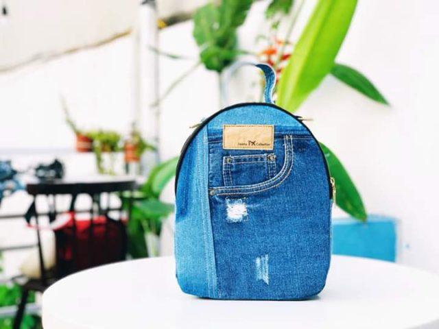small denim backpack