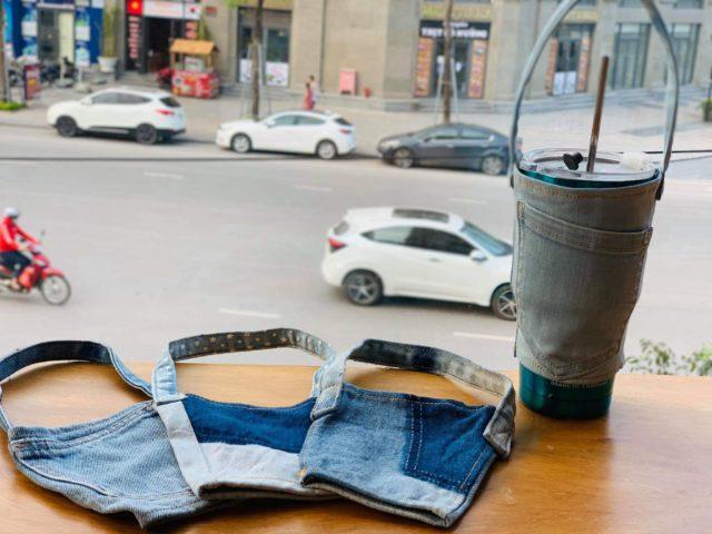 denim coffee holders