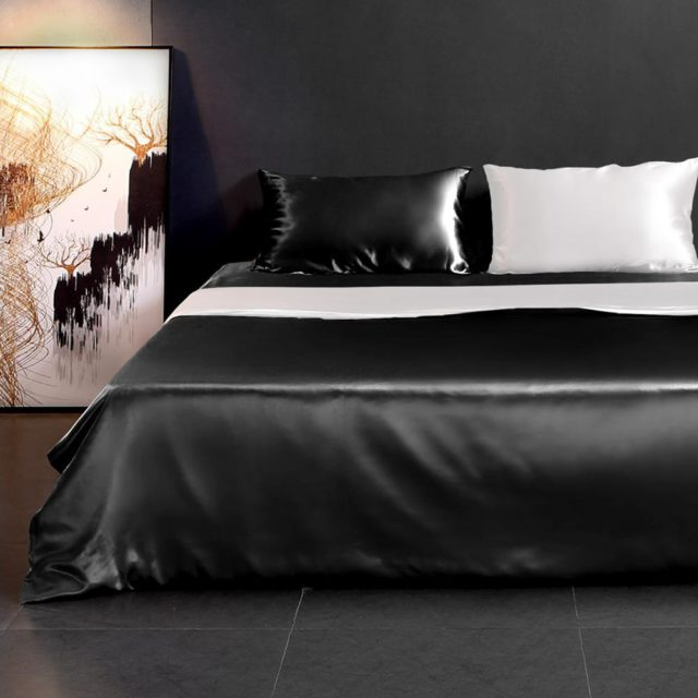 Natural Silk-Contrast Color Duvet Cover Set reviews