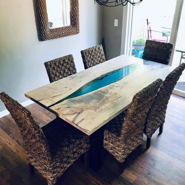 maple dining table with the blue epoxy